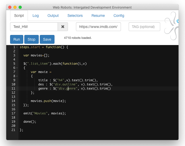 Web scraping extension